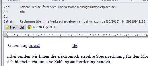 Phishing Mail einer angeblichen Amazon Rechnung
