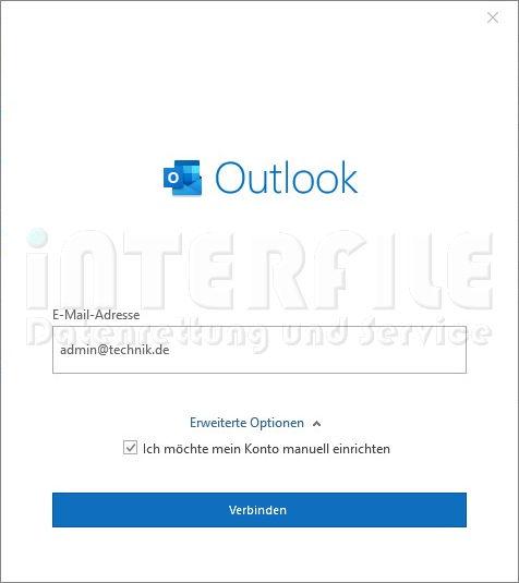 Microsoft Outlook 2019 Mail-Settings Konto anlegen