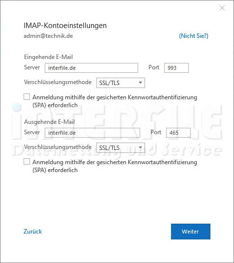 Microsoft Outlook 2019 Settings IMAP Kontoeinstellungen