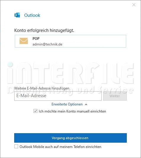 Microsoft Outlook 2019 Mail-Einstellungen Bestätigungsfenster für POP Protokoll