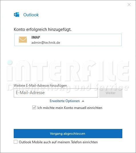 Microsoft Outlook 2019 Mail-Einstellung Bestätigungsfenster für IMAP Protokoll