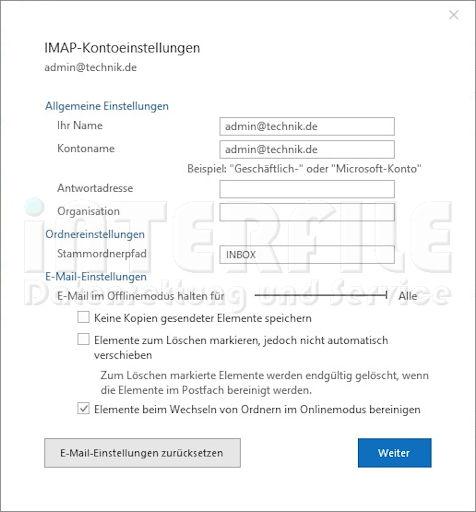 Microsoft Outlook 2019 Einstellungen für IMAP